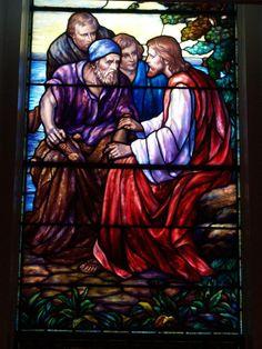 Description: Lockport, New York (NY): First Presbyterian Church: Christ Calling the Fishermen (1947, Payne-Spears Studio)