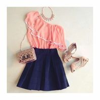 peach one shoulder shirt with navy skirt