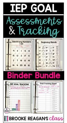 IEP goal tracking assessments and IEP goal tracking data binder all in one bundle price. This bundle gives you assessments to track student progress in math, reading, and writing AND all sorts of data tracking sheets within the IEP goal tracking binder! #iepgoaltracking #progressmonitoring #iepgoalassessments #iepgoaltrackingbinder Data Binders, Goal Tracking, Progress Monitoring, Special Education, Assessment, Self, Classroom, Student, Goals
