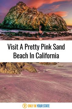 Explore a beautiful pink sand beach in California! This rare phenomenon is caused by crushed amethyst from the surrounding cliffs mixing with the sand. It's so pretty and so unique! Places To Travel, Places To See, Pink Sand Beach, Famous Beaches, Hidden Beach, Pacific Coast, California Travel, Summer Travel, San Jose
