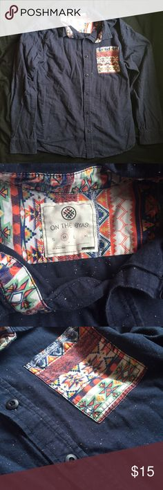 Men's Button Front Patterned Shirt Great condition. Men's button up shirt with Aztec pattern pocket and inside collar. Shirt is dark blue with white/cream specks all over. By On The Byas from PacSun.  Junior guys / back to school / fall / indie / hipster . PacSun Shirts Casual Button Down Shirts