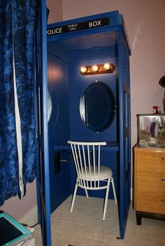 my dad made me a seven foot tardis vanitydesk and my mom got me all kinds of doctor who stuff the tardis is so cool