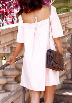 Women's Stylish V-Neck 1/2 Sleeve Pink Cut Out Lace-Up Dress Casual Dresses | RoseGal.com Mobile