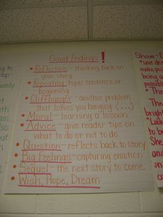 Branson Reader's Workshop / Anchor Charts Photos - Good Endings. Good endings resonate, stick and can prompt engagement.