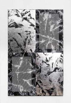 ROMAN LIŠKA *Untitled (black mesh crease and silver crease quadruple squares)*, 2014  Synthetic mesh fabric, reflective fabric, spray paint, metal eyelets, xerox copy, stretchers, cling film 36 3/5 × 56 7/10 in 93 × 144 cm DUVE Berlin