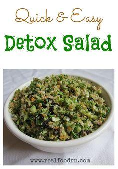 Detox Salad:  cauliflower, broccoli, carrots, currants, sunflower seeds, lemon
