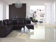 Travertino 600x600mm, glazed porcelain tile. Simulates polished vein cut travertine.