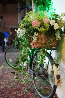 ༺✿ Flower Pedals ✿༻ ༺✿ Baskets of Flowers Riding Bicycles ✿༻ hhstyling: Vintage Secret Garden Wedding