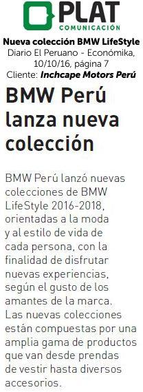 Inchcape Motors: Nueva colección de BMW LifeStyle en el suplemento Económika del diario El Peruano (10/10/16)