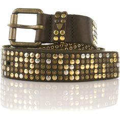 Belt 5000 studs Htc (£61) ❤ liked on Polyvore featuring accessories, belts, hook belt, dark brown belt and studded belt