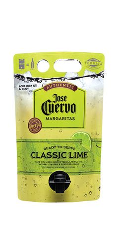 This ready- to- drink margarita pouch is made with @Jose Cuervo Tequila Gold, triple sec and fresh limes. Simply moisten the rim of a margarita glass with a lime wedge and dip in coarse salt. Add ice to the glass, pour and enjoy! – Distiller's Notes