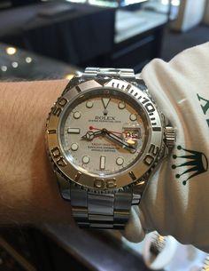 Rolex Yacht-Master Stainless/Platinum Ref: #116622 with box and paperwork. $6500.00 #Rolex #YachtMaster #Rolexwrist #Swiss #Luxury #Watchlink