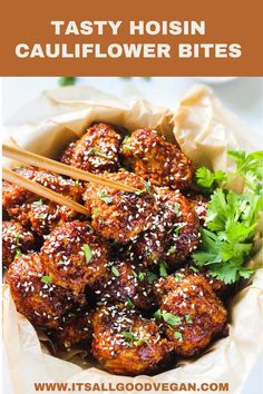 Who wants a big bowl of these flavorful Hoisin Cauliflower Bites?  Crispy cauliflower covered in crispy panko bread crumbs and tossed in a savory KA-ME Hoisin Sauce mixture, then baked to perfection and topped with sesame seeds and fresh cilantro– such a simple and easy appetizer that your whole family will love. Easy Appetizer Recipes, Vegan Dinner Recipes, Delicious Vegan Recipes, Vegan Dinners, Vegetarian Recipes, Vegan Appetizers, Top Recipes, Quick Recipes, Easy Healthy Recipes