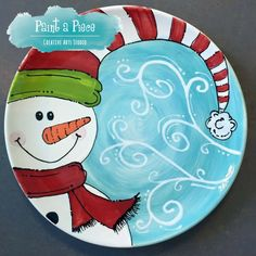 Wonderful No Cost pottery art serving platters Tips Swirling Snowman – hand painted pottery serving platter created at Paint a Piece in Memphis, TN Christmas Clay, Painted Christmas Ornaments, Christmas Plates, Wood Ornaments, Handmade Christmas, Hand Painted Ornaments, Xmas, Hand Painted Pottery, Hand Painted Ceramics