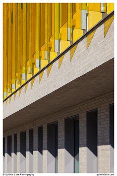 Yellow Glass fins of Engineering College of Aarhus (IHA Katrinebjerg) by C.F. Moller & Søren Jensen. Photo: Quintin Lake