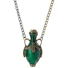 Emi Jewellery Bottle of Poison Necklace in Green ($23) ❤ liked on Polyvore featuring jewelry, necklaces, green jewelry, long pendant, long chain necklace, pendant chain necklace and chain jewelry