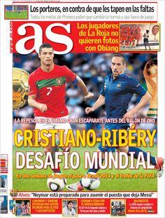 Los Titulares y Portadas de Noticias Destacadas Españolas del 13 de Noviembre de 2013 del Diario AS ¿Que le pareció esta Portada de este Diario Español?