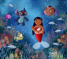 Lilo & Stitch (by Fernl Disney Stitch, Lilo And Stitch 2002, Lilo And Stitch Drawings, Disney Images, Disney Pictures, Disney Fan Art, Cute Disney, Disney Girls, Dark Disney