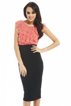 Chiffon Contrast Frill Top Midi Dress