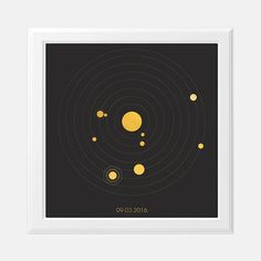 How the planets aligned on any date! | Custom Date - Solar System Print | Planet Alignment | Engagement Present | Birth Chart Print