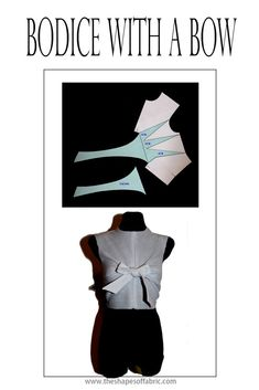 How to add a bow to a bodice pattern with the help of dart manipulation. - How to add a bow to a bodice pattern with the help of dart manipulation. Pattern Draping, Bodice Pattern, Bow Pattern, Pattern Cutting, Dart Manipulation, Fabric Manipulation Techniques, Clothing Patterns, Sewing Patterns, Sewing Collars