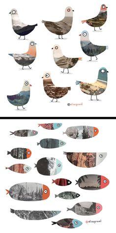 Elise Gravel Illustration • Collage • pigeons • fish • landscape • art • animals • photos • texture