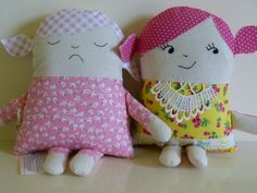 Two Faced friends -reversible - happy one side, asleep on the other.    FB: Posey Dolls