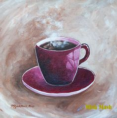 Modern cafe art, kitchen decor, kitchen wall hanging, cup of coffee painting