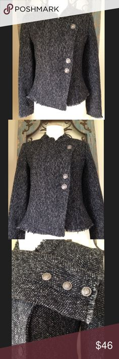 MM COUTURE jacket Excellent condition. Front falls 21 inches and the back slightly longer at 23. Self is 54% wool and 45% polyester. Lining is 100% polyester. Front has 3 buttons and 1 snap button. Smoke free and pet free home. Bundle your order and save 20%!! MM Couture Jackets & Coats