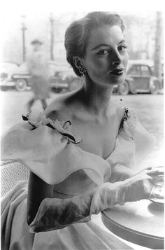 Spring 1952. Capucine wearing a gown by Hubert de Givenchy.