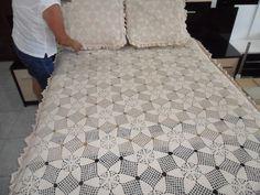 colcha de croch e ponto cruz para cama de casal