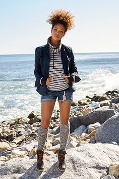 Love this look from Sperry! Dress for fall's unpredictable temps in layers meant to be shed. Our Crossover Sweatshirt features an asymmetrical neckline and a kangaroo pouch pocket making it a go-to staple. Pair knee-high socks with shorts or a dress for a fall-ready look.