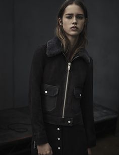 ALLSAINTS WOMEN'S LOOKBOOK LOOK 6. The Emme Skirt and Orton Suede Jacket.