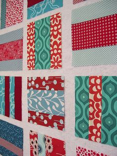 red and aqua mixtape quilt blocks