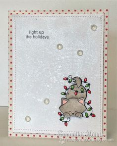 Cat in Christmas Lights card by Samantha Mann for Newton's Nook Designs