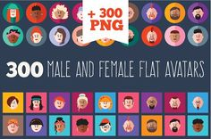 300 male and female flat icon set. by Maryna on @creativemarket