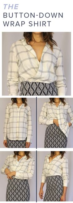Are you getting tired of wearing the same oversized flannel or boring, old button-down? There's no need to shop for a new item; simply transform it into a dinner-worthy wrap blouse with this quick trick.