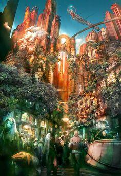 missolivialouise:  Imperial City of Archades from Final Fantasy XII, art byIsamu Kamikokuryo