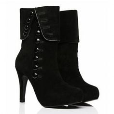 $14.92 Elegant Women's Short Boots With Button and High Heel Design THESE WILL LOOK CUTE WITH LEGGINGS & ARE MY SIZE !!
