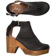 Free People Amber Orchard Clog (230 AUD) ❤ liked on Polyvore featuring shoes, clogs, heels, zapatos, black, high heel caps, black high heel shoes, heeled clogs, leather shoes and 5-panel cap