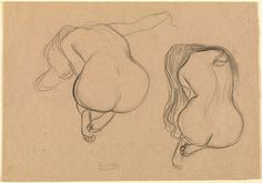 Two Studies of a Seated Nude with Long Hair, Gustav Klimt, about 1901-1902 (Getty Museum) // Love how the second figure so closely resembles a cello