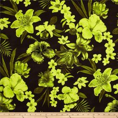 Kaufman Tahitian Nights Poplin Spaced Flowers Lime from @fabricdotcom  From Kaufman Fabrics, this Hawaiian themed poplin fabric features a soft, smooth hand and dull bodied drape. Perfect for creating shirts, shorts, dresses and skirts. Colors include neon lime and olive on a brown background.