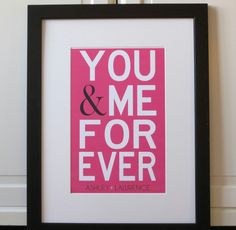 You and Me Forever Wedding Poster-    Guestbook Alternative-    Customize with Names. $28.00, via Etsy.