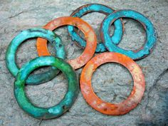 1 1/2 Inch COPPER WASHERS Hammered with Patina by SupplyYourSoul, $8.00