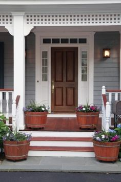 stained wood front porch