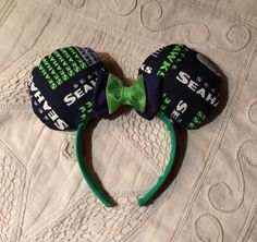 Unique Seattle Seahawks Minnie Mouse Ears headband by MissasTreasures on Etsy https://www.etsy.com/listing/237583935/unique-seattle-seahawks-minnie-mouse