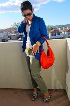 Blue-forever-21-blazer-red-kate-spade-bag-olive-green-forever-21-pants