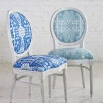 Lacefield Bombay Cobalt and Bombay Mist ikat print textiles. #frenchchairs #upholstery