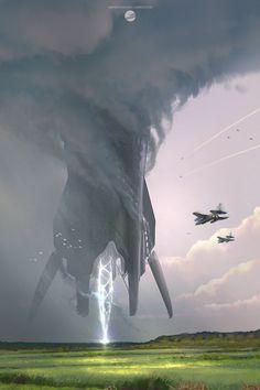 Foreign Visitor, digital art by Simon Fetscher Arte Sci Fi, Sci Fi Art, Ufo, Fantasy World, Fantasy Art, Espada Anime, Art Pulp, Futuristic Art, Wow Art