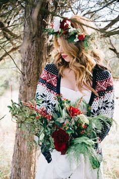 Cozy Winter Bride in a Patterned Cardigan over a Simple Wedding Dress | Nicole Colwell Photography | Festive Styled Wedding in the Winter Woods - with a Corgi in a Holiday Sweater!